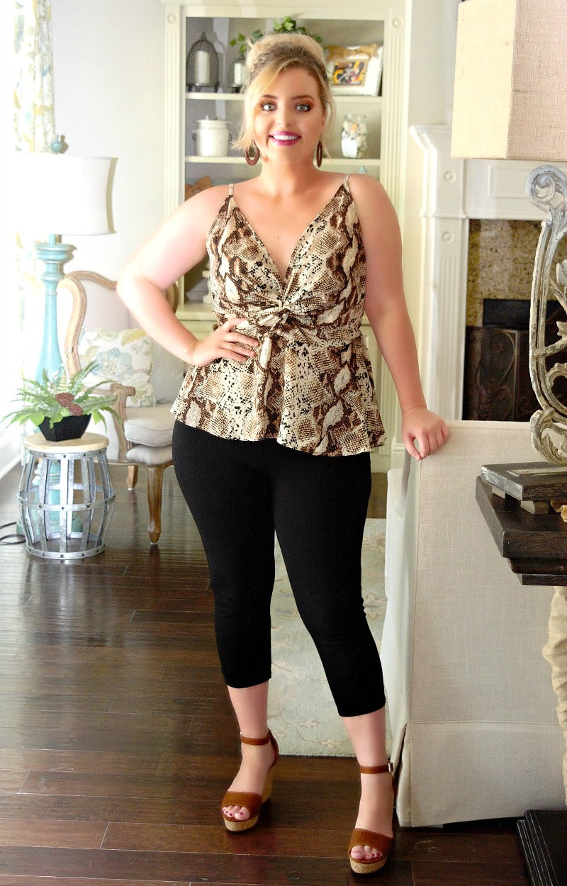 Load image into Gallery viewer, Feeling Fearless Snake Print Tank - Brown/Cream