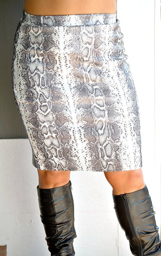 Party's Here Snake Print Sequin Skirt