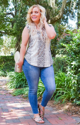 Slide Right By Snake Print Top