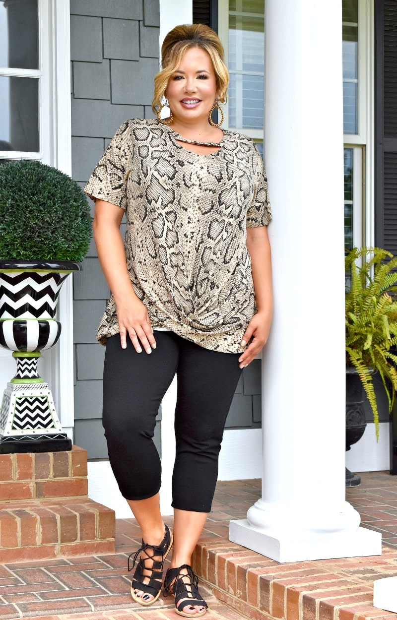 What's Knot To Like Snake Print Top