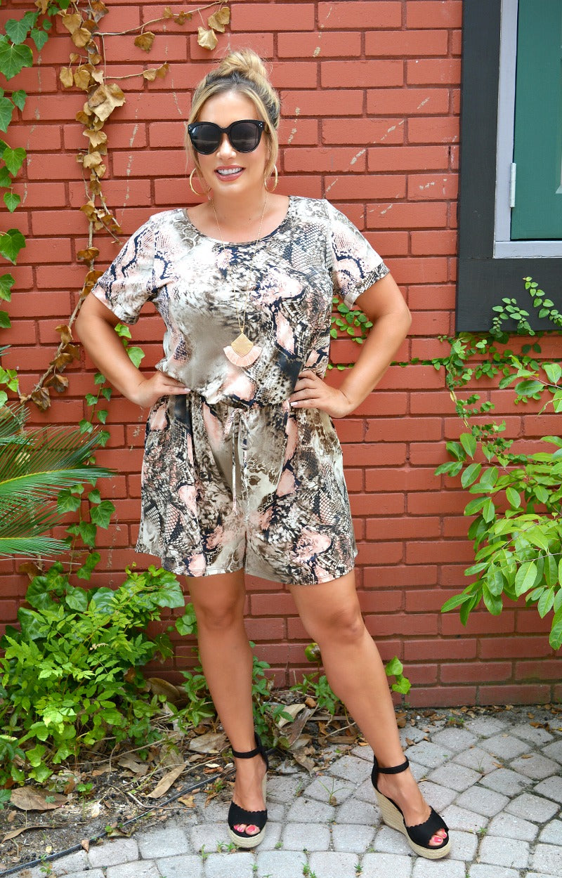 Load image into Gallery viewer, Causing Trouble Snake Print Romper - Taupe/Mauve