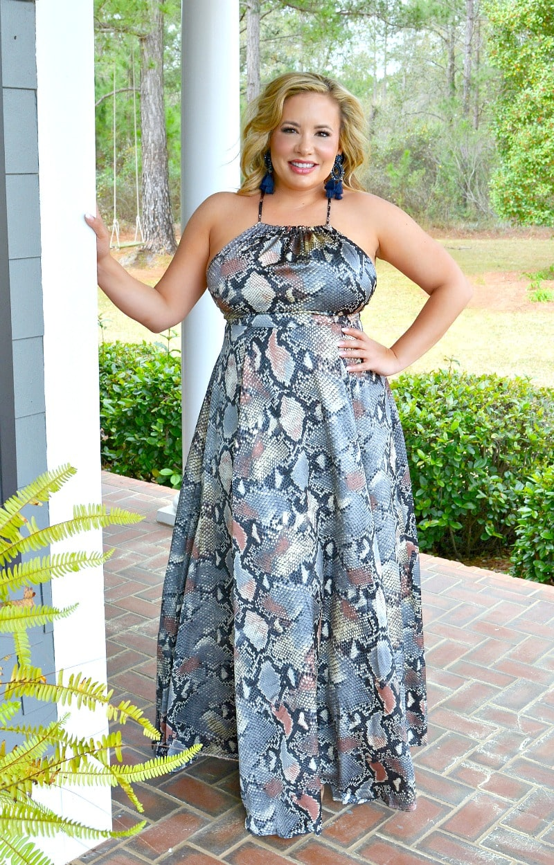 Stronger Than You Snake Print Maxi Dress