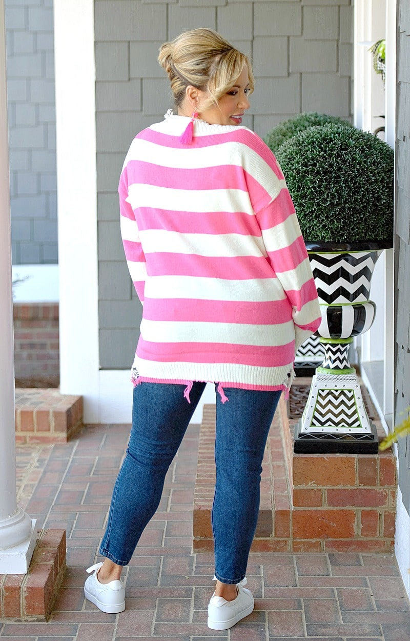 Rumor Has It Distressed Sweater - Ivory/Hot Pink