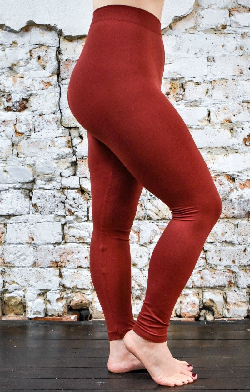 So Very Luxe Ankle Length Leggings - Brick