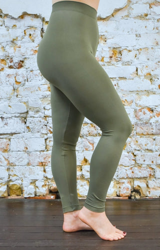 So Very Luxe Ankle Length Leggings - Light Olive