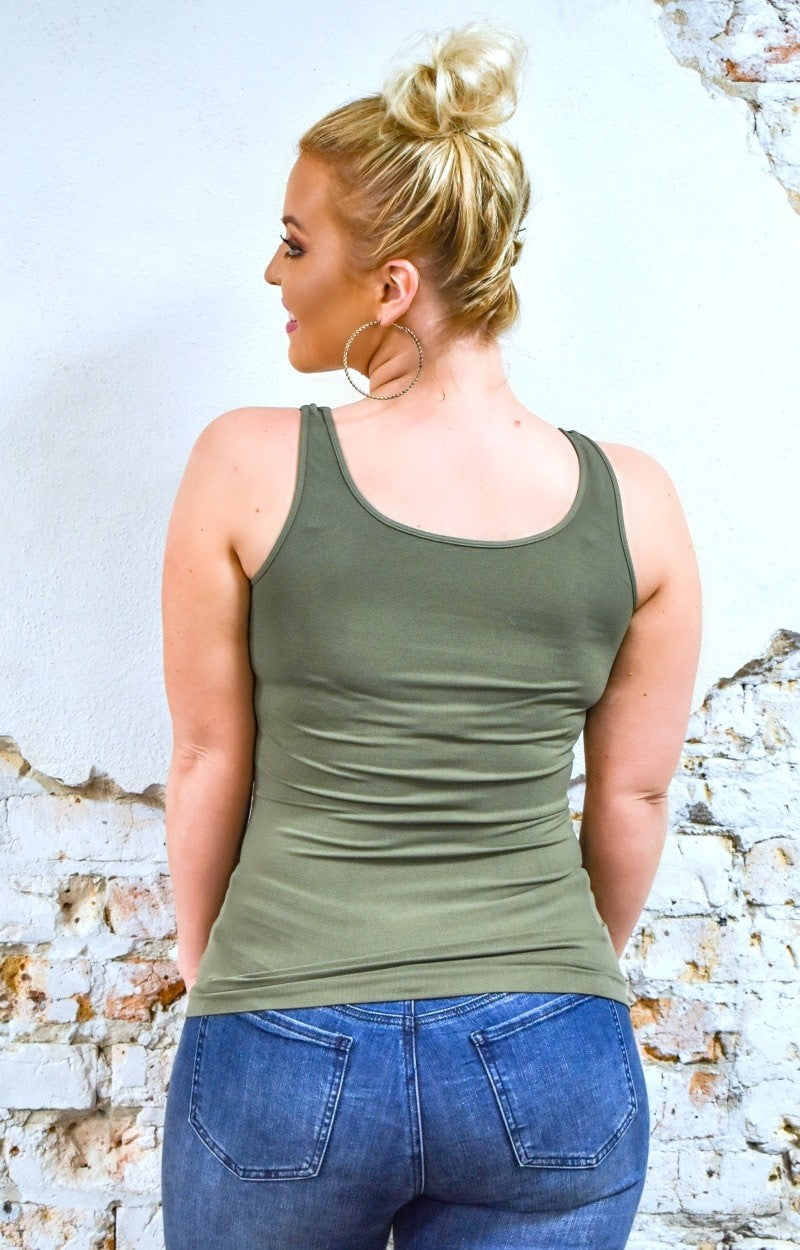 So Very Luxe Wide Strap Cami - Olive
