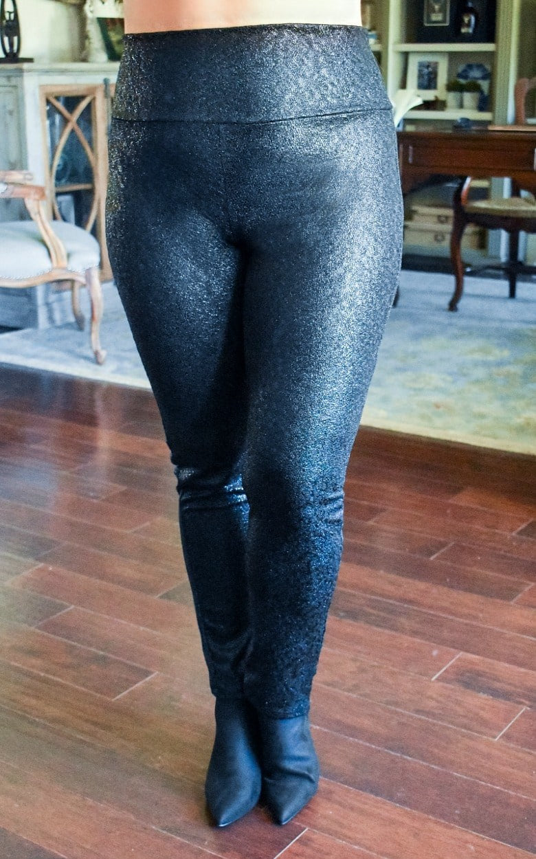 Load image into Gallery viewer, Shining Moment Leggings - Black Shimmer