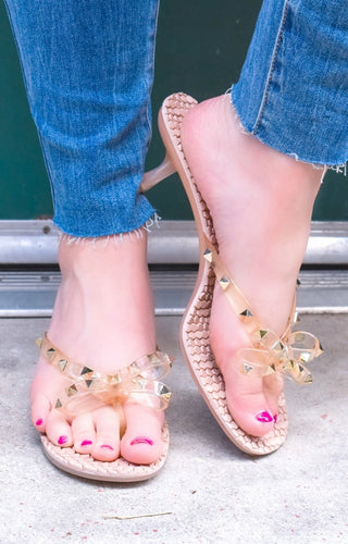 Mutual Attraction Studded Sandals - Blush