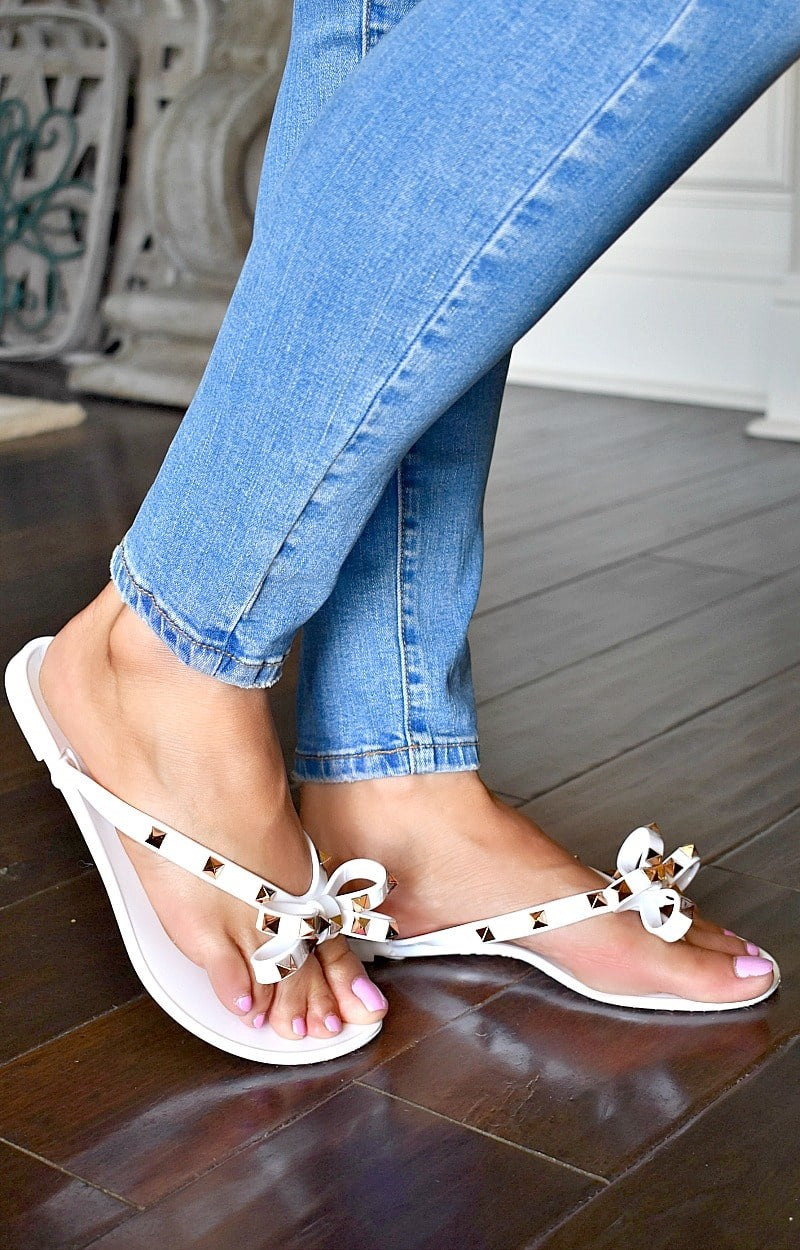 Bright Future Studded Sandals - White/Gold