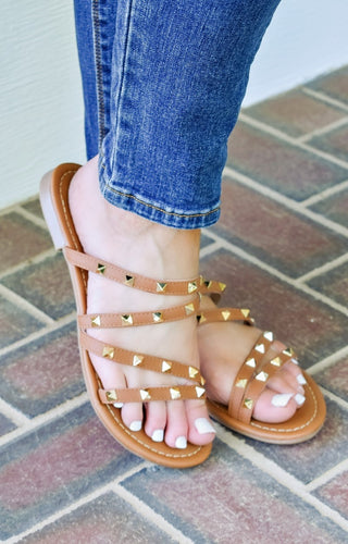 All Over You Studded Sandals - Brown