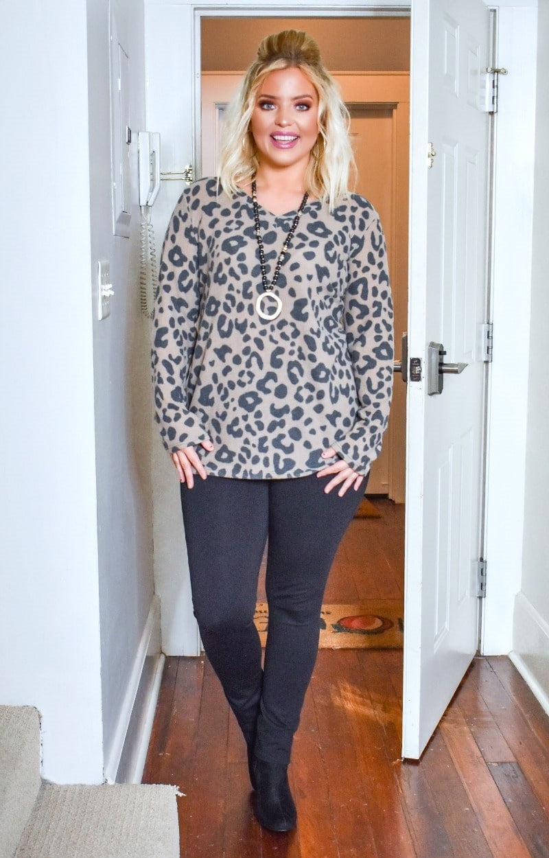 Wildly Yours Leopard Print Pullover - Mocha