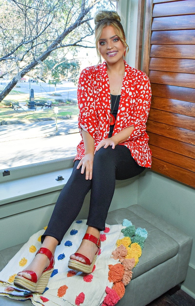 Take The Lead Leopard Print Blazer - Red