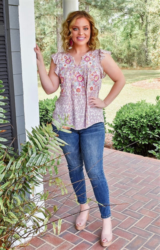 Easy Living Embroidered Leopard Print Top - Lavender