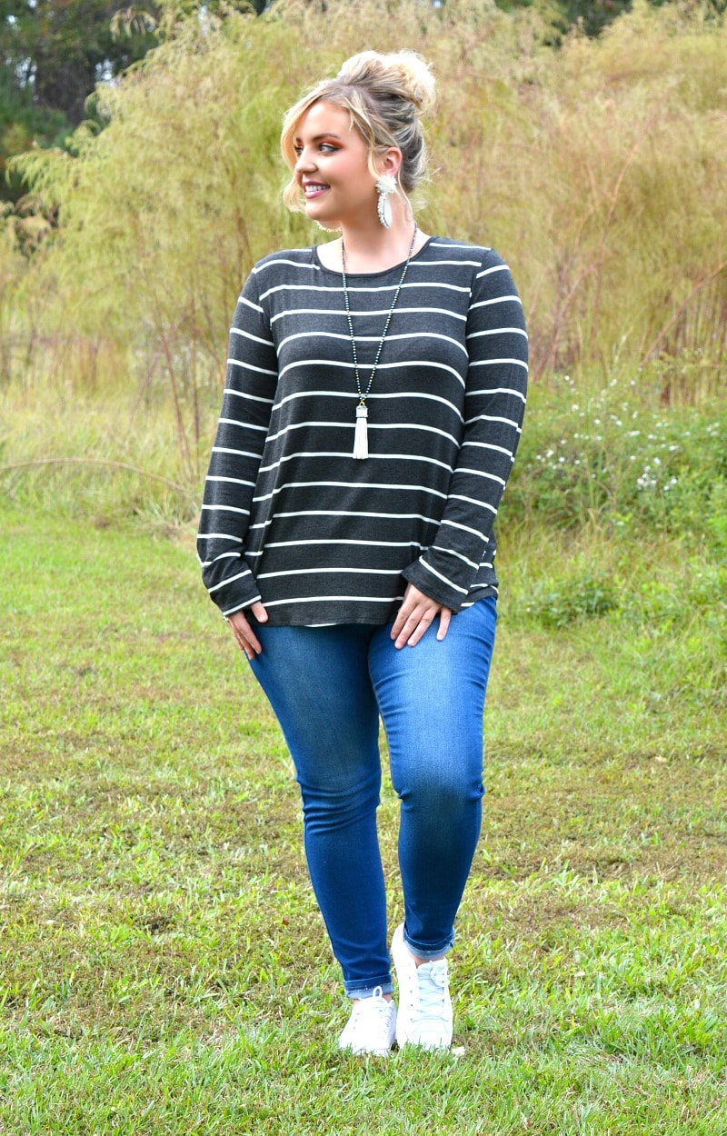 Load image into Gallery viewer, What We Have Striped Top - Charcoal