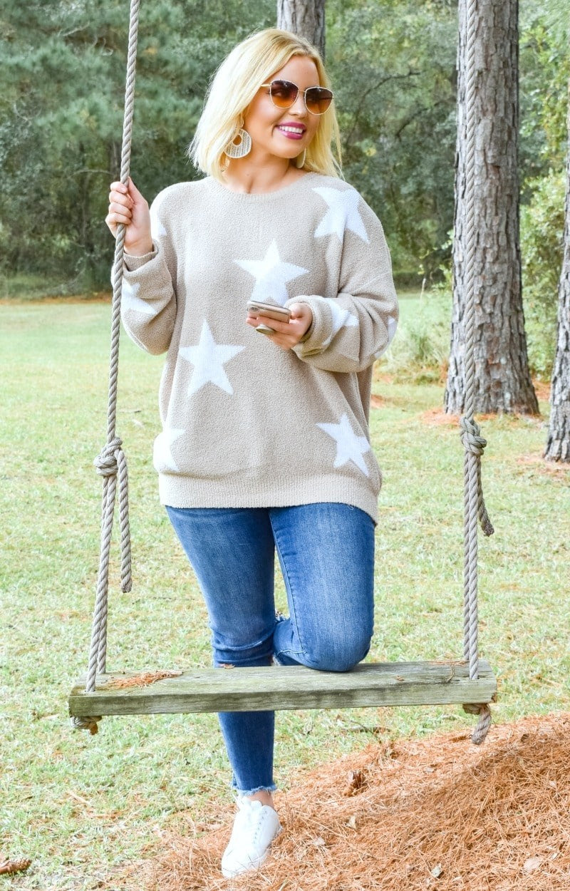 Star Gazing Print Sweater - Taupe