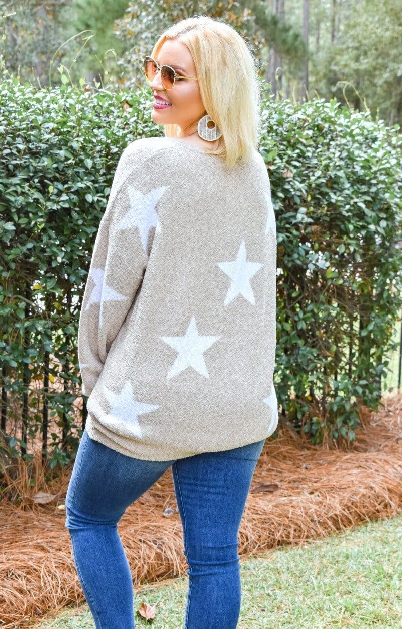 Load image into Gallery viewer, Star Gazing Print Sweater - Taupe