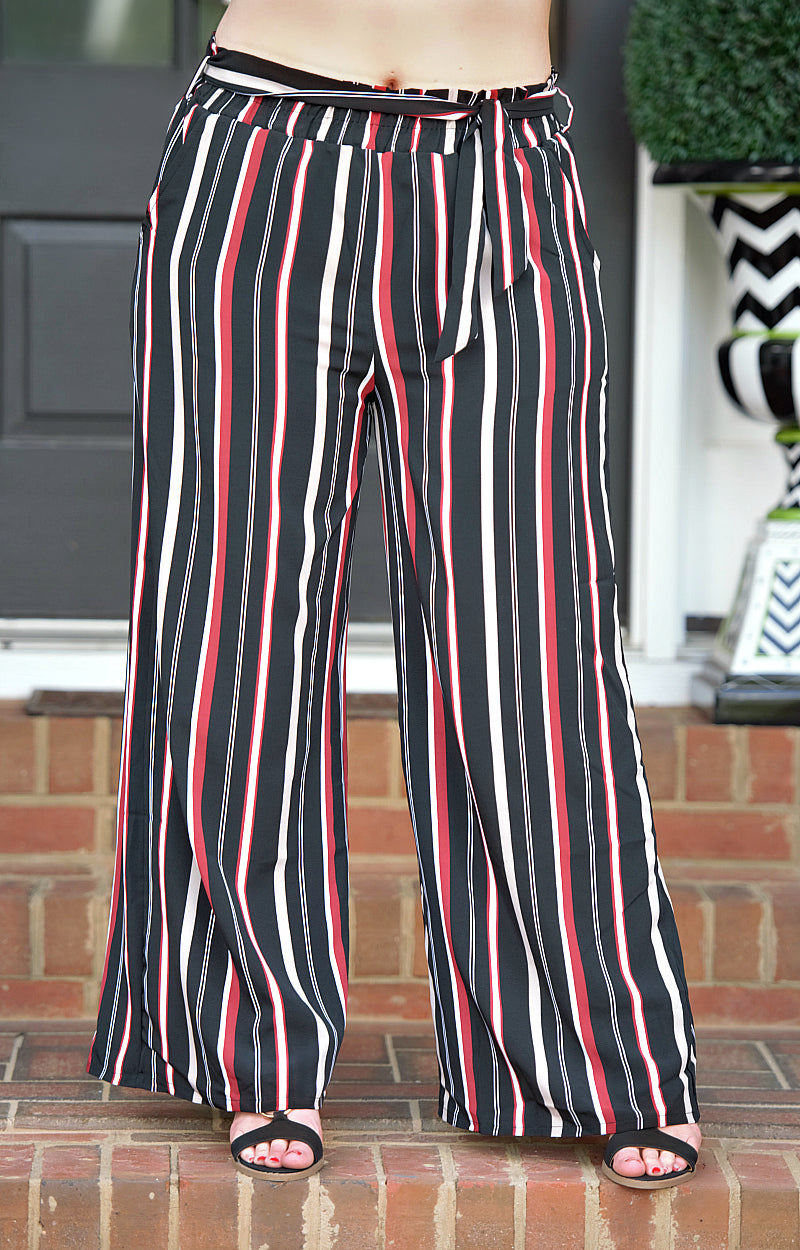 Hold Me Down Striped Pants - Black