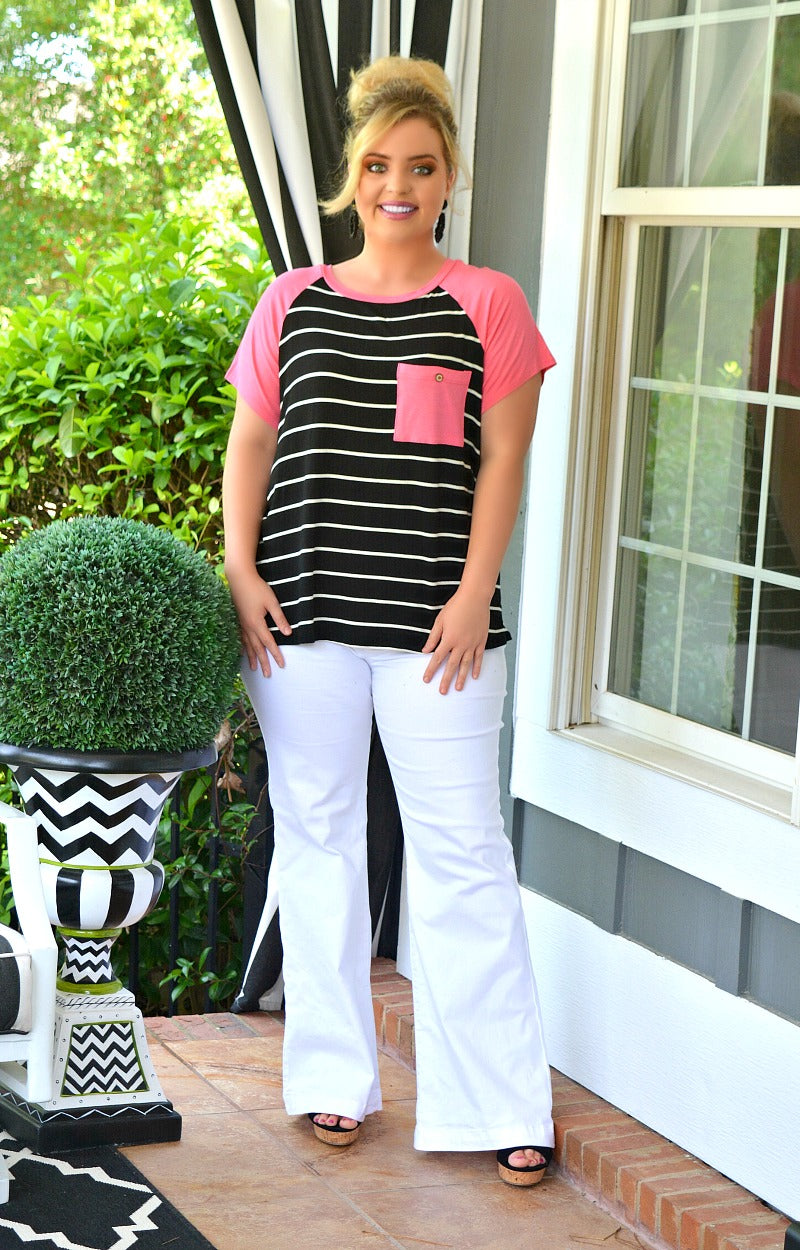 Load image into Gallery viewer, Be My Escape Striped Top - Black/Fuchsia