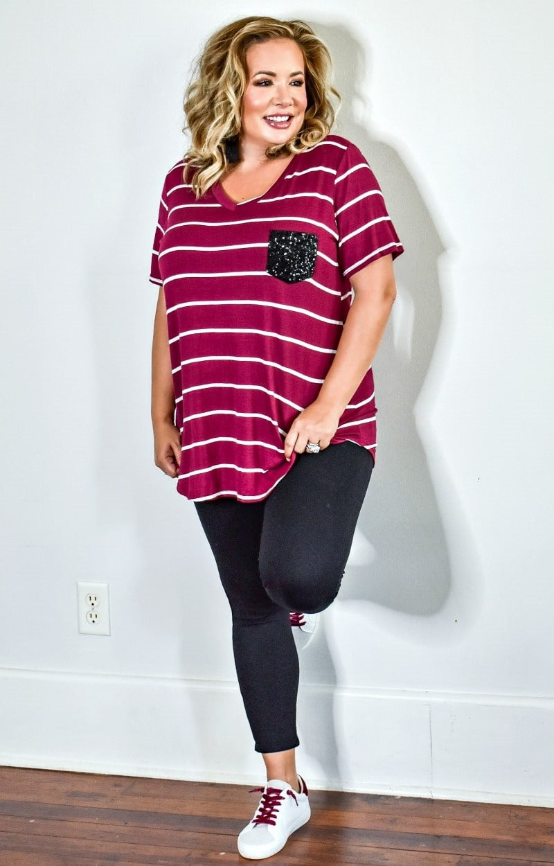 Load image into Gallery viewer, City Chic Striped Top - Burgundy/Ivory