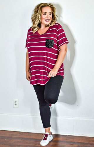 City Chic Striped Top - Burgundy/Ivory