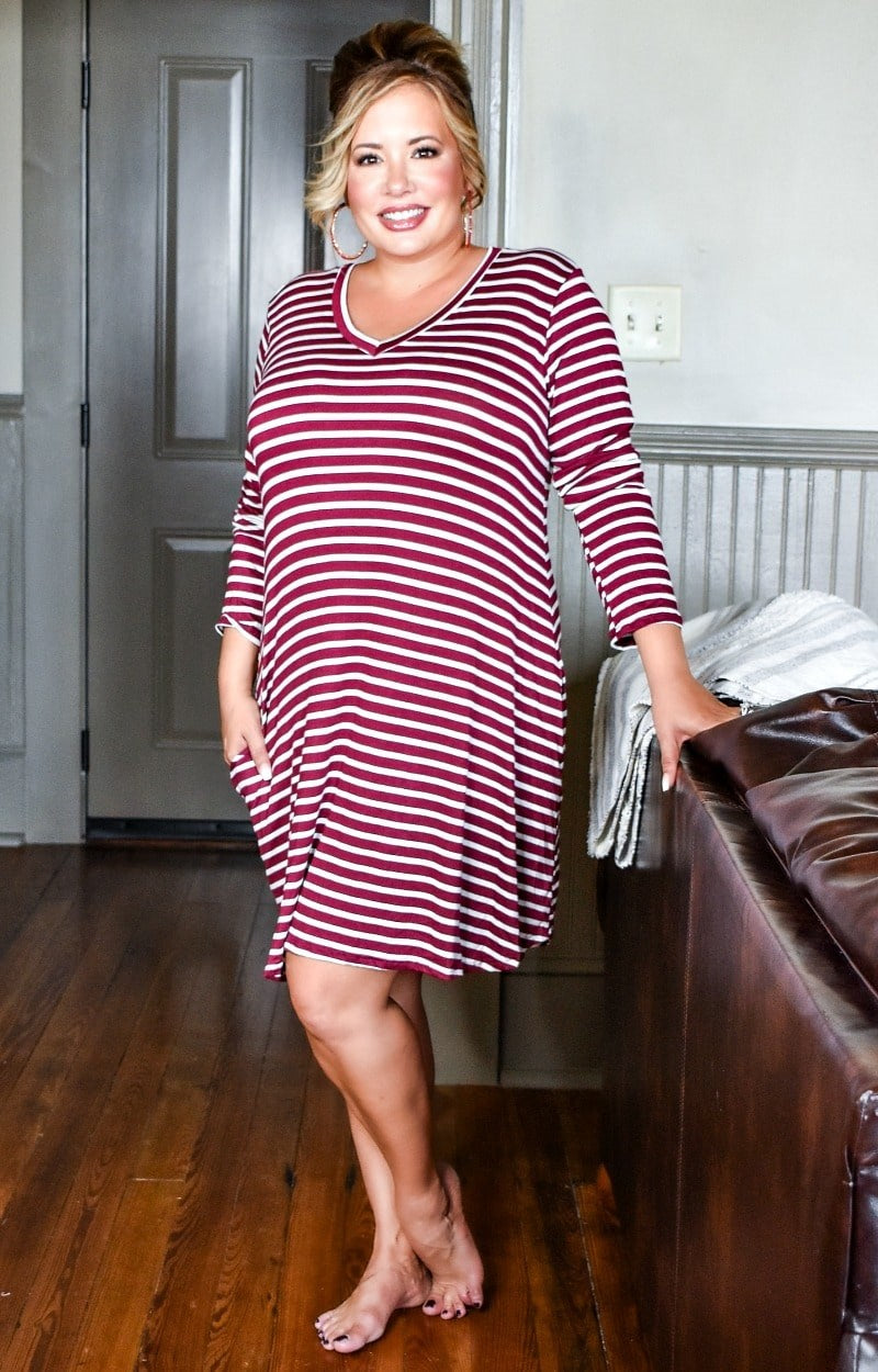 Load image into Gallery viewer, To Be Expected Striped Dress - Burgundy