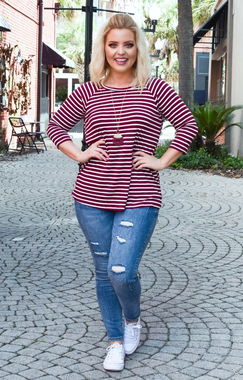 The Right Choice Striped Top - Burgundy