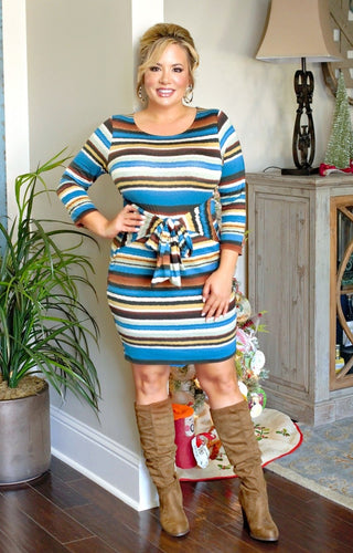 What A Doll Striped Dress - Multi