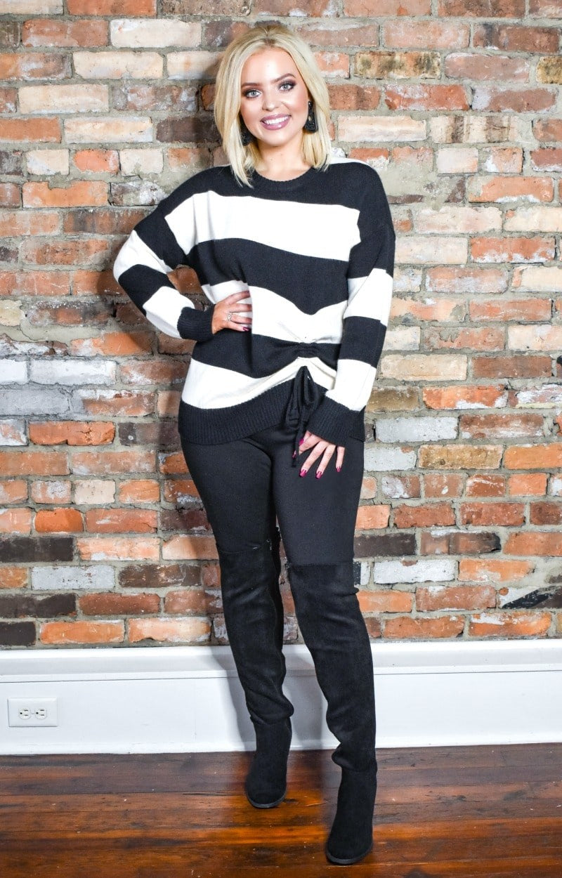 Settling Down Striped Sweater - Black/Ivory