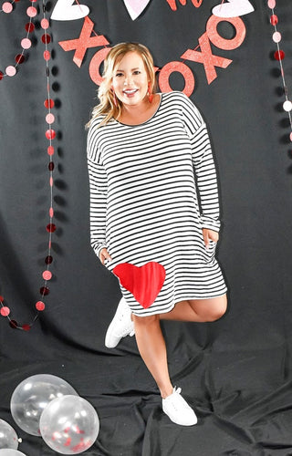 Be My Sweetheart Striped Dress