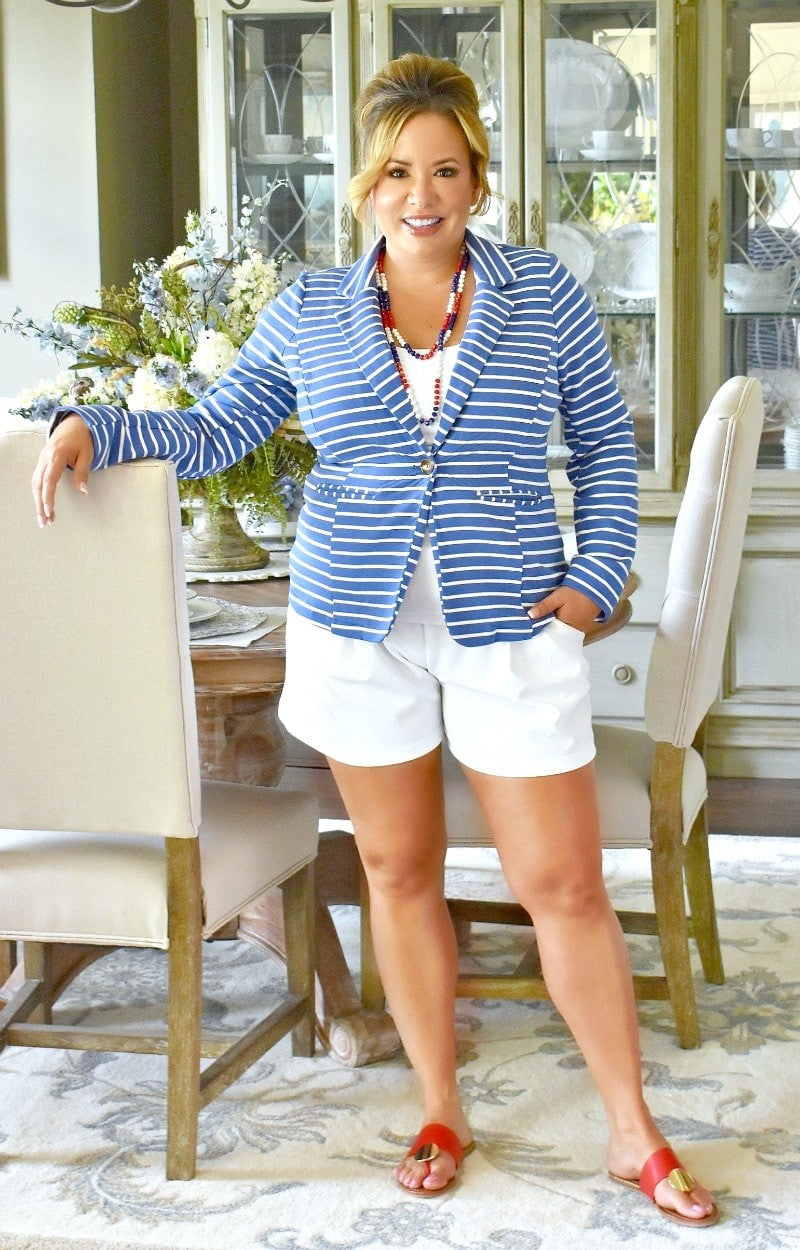 You Got It Girl Striped Blazer - Blue/White
