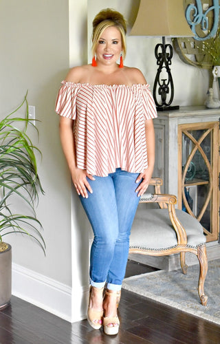 Picked A Winner Striped Top - Taupe/Red