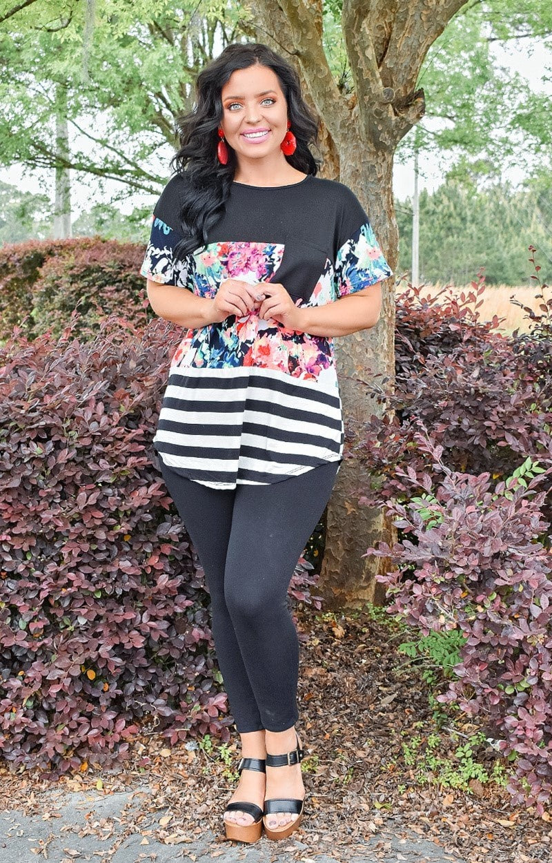 Garden Club Print Top - Black