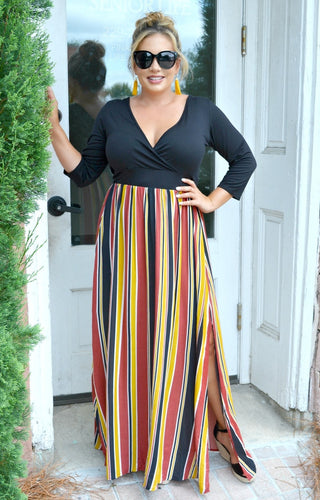 Think Fast Striped Maxi Dress - Black/Multi