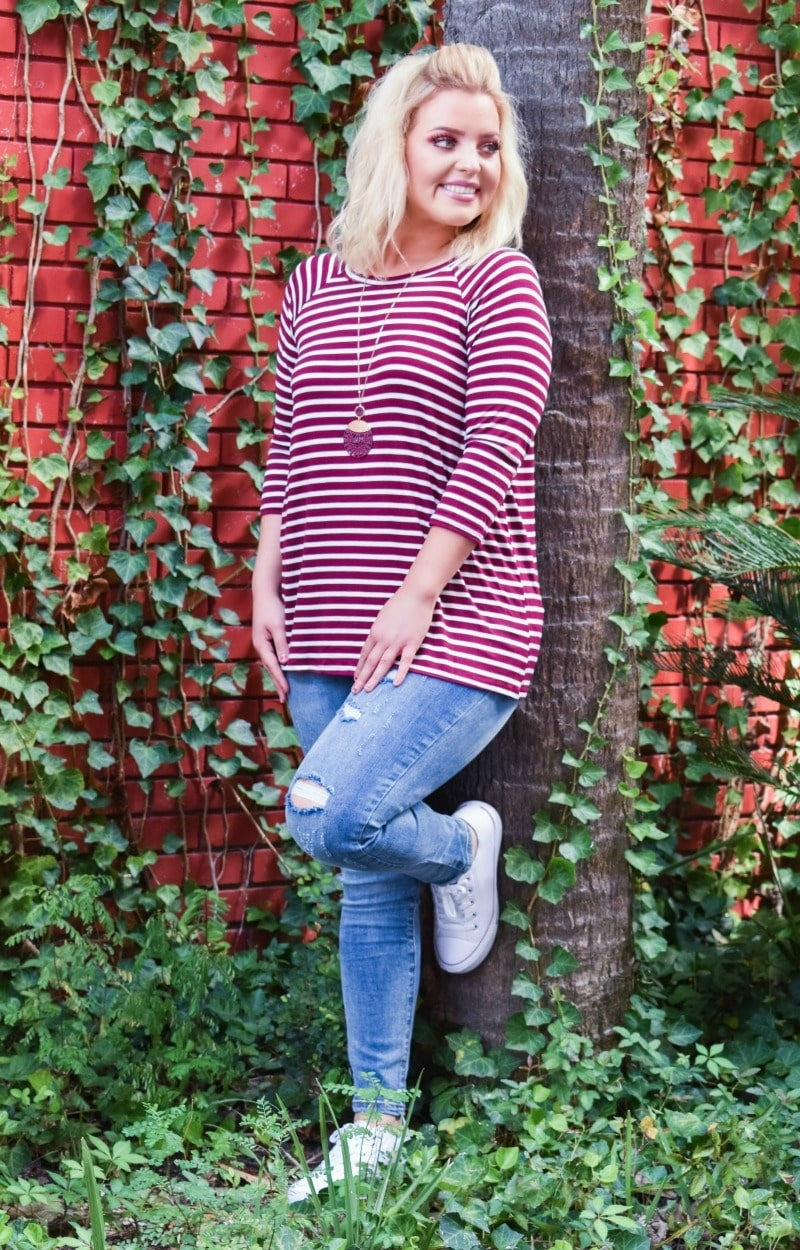 Load image into Gallery viewer, The Right Choice Striped Top - Burgundy