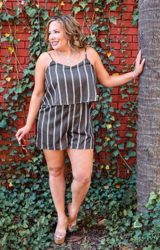Gone For The Weekend Striped Romper - Olive/Navy