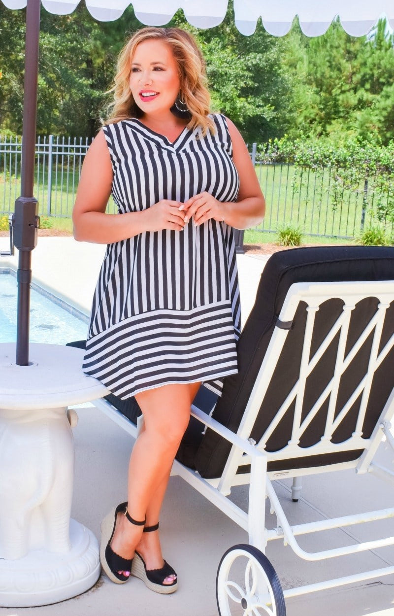 Keep Searching Striped Dress - Black/White