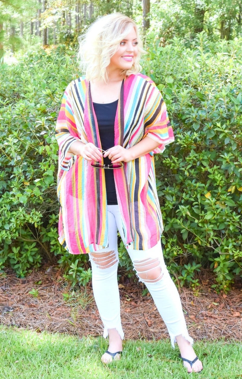 Load image into Gallery viewer, Drifting Away Striped Kimono
