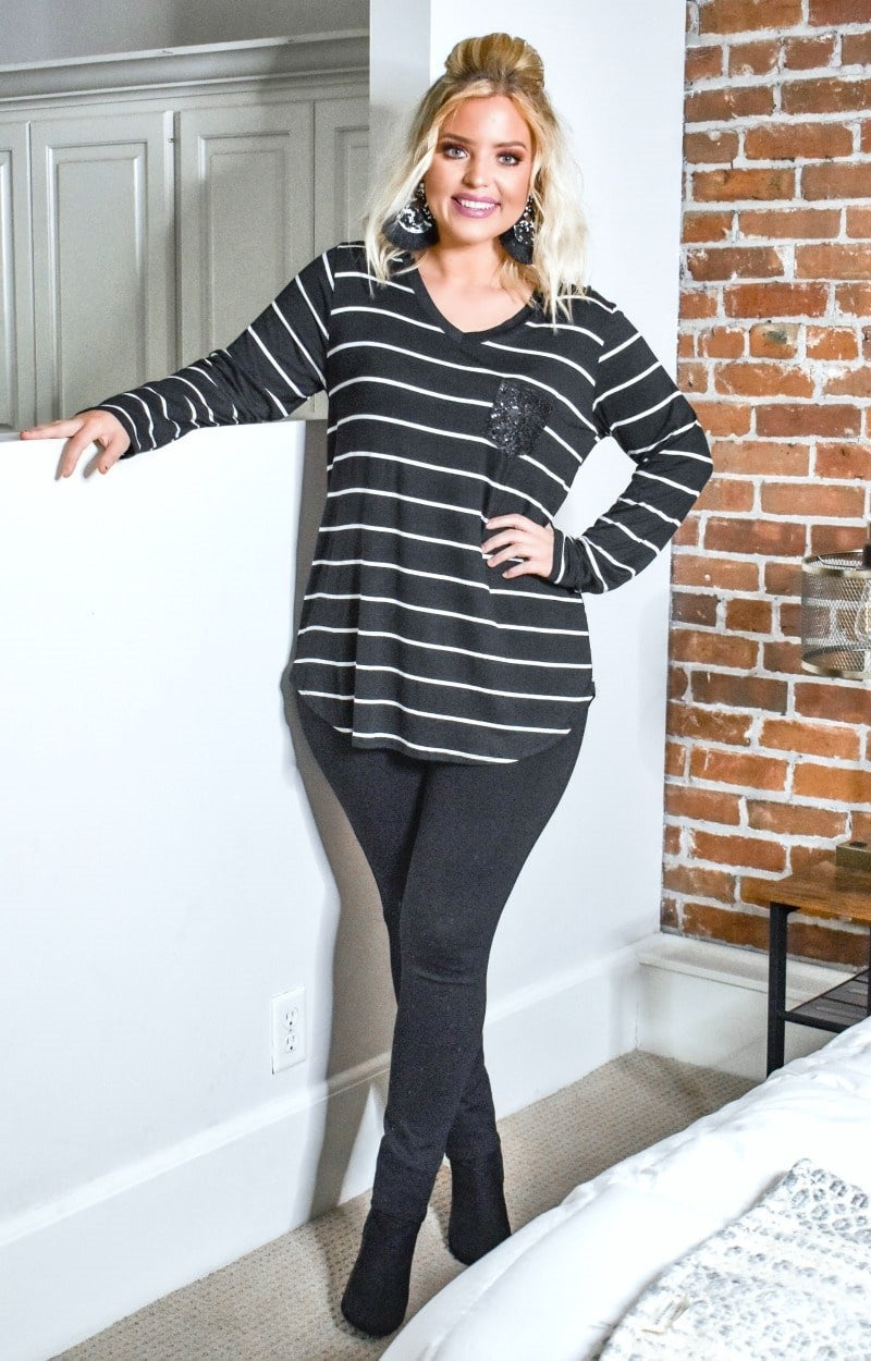 Load image into Gallery viewer, Feeling Generous Striped Top - Black