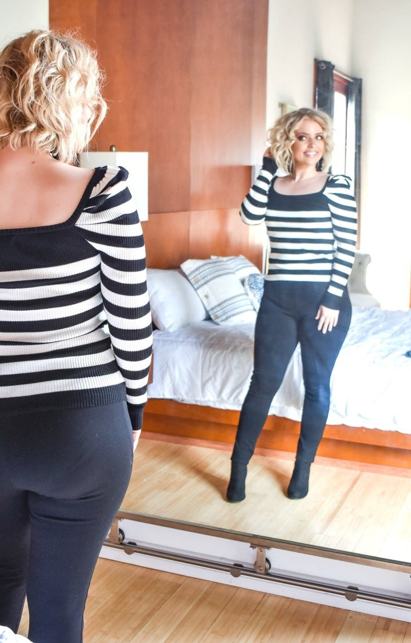Load image into Gallery viewer, My Cup Of Tea Striped Sweater - Black/White