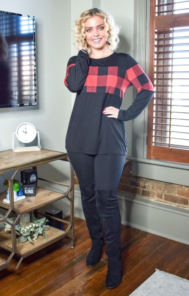 Never Out Of Style Plaid Top - Black/Red