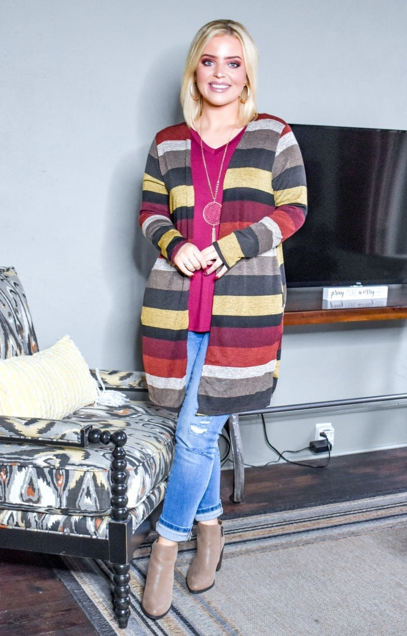 Load image into Gallery viewer, Feel The Heat Striped Cardigan - Multi