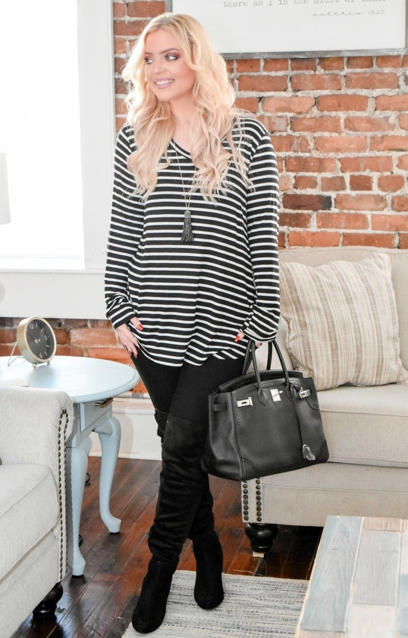 Load image into Gallery viewer, Lead The Way Striped Top - Black/White