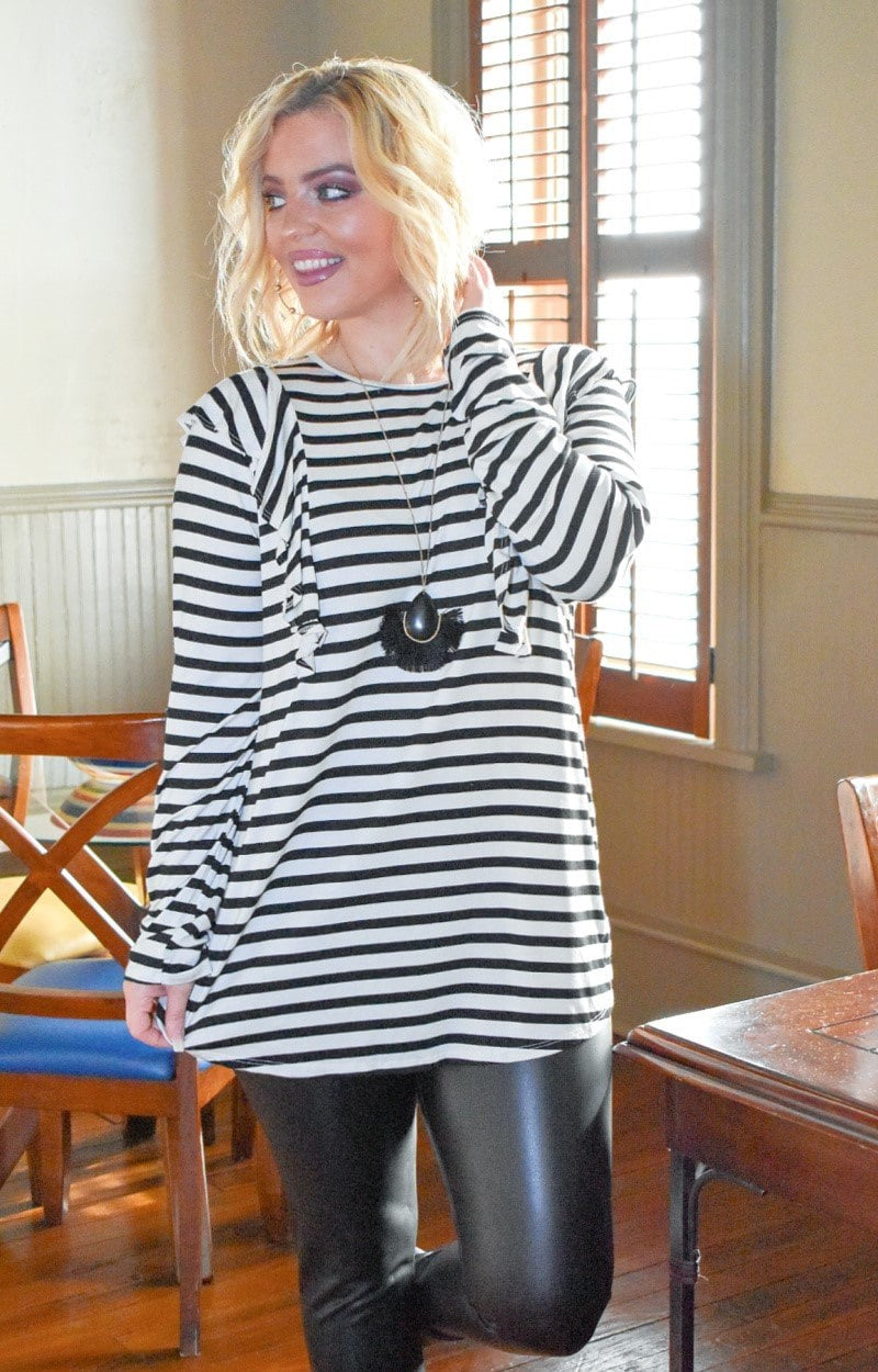 Holding You Forever Striped Top - Ivory/Black