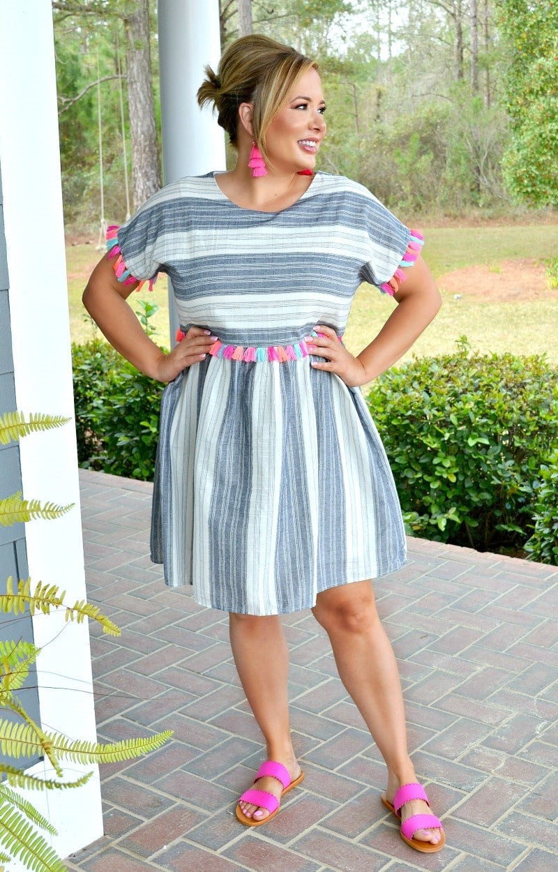 Endless Stories Striped Dress - Charcoal