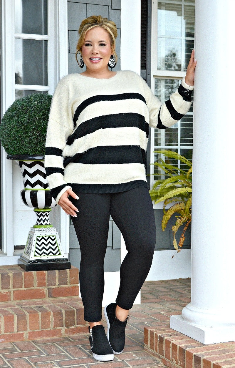 High Hopes Striped Sweater - Ivory/Black