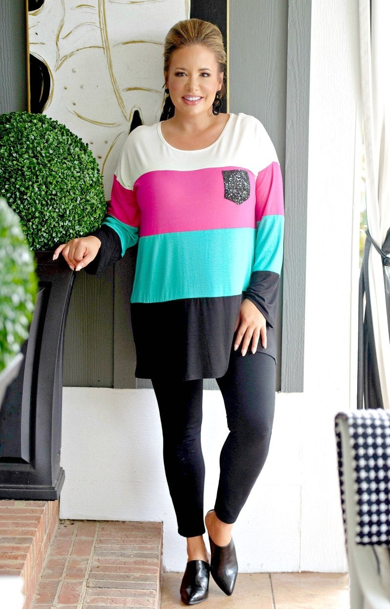 Taking Notice Colorblock Top - Multi