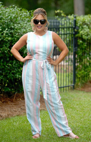 Go To Great Lengths Striped Jumpsuit - Multi