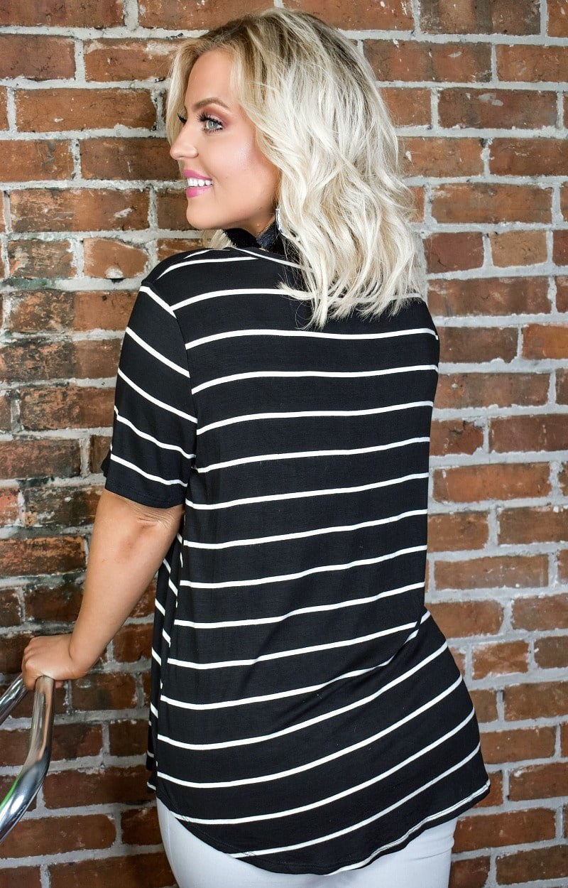 City Chic Striped Top - Black/Ivory