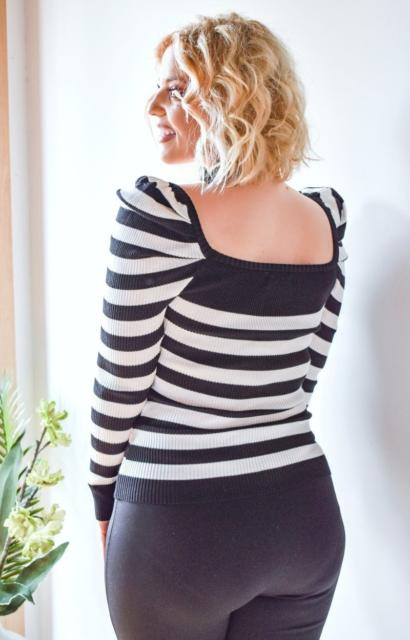 My Cup Of Tea Striped Sweater - Black/White