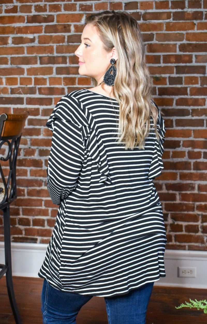 Holding You Forever Striped Top - Black/Ivory